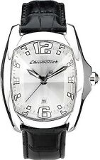 NEW Chronotech 7107M Mens Three Hand Unique Black/White Leather Nice Large Watch