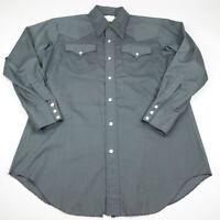 Vintage H Bar C California Ranchwear Snap Button Mens 16.5 - 33 Black Western