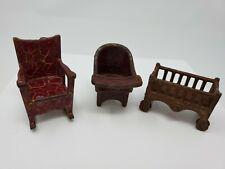 3 PC ANTIQUE DOLL HOUSE FURNITURE-CAST IRON-KIlgore Crib Highchair Rocking Chair
