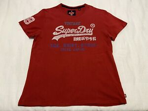 Super Dry Vintage Red Logo Print T-Shirt ~ Size 2XL