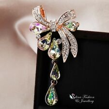 18K Rose Gold GF Made With Swarovski Crystal Stunning Bow-knot Teardrop Brooch