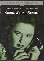 SORRY WRONG NUMBER CLASSIC FILM NOIR BARBARA STANWYCK BURT LANCASTER DVD