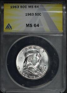 1963 Franklin Half Dollar ANACS MS-64