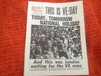 Reprint newspaper Daily mirror may 8th 1945 - VE Day . 8 pages complete -wartime
