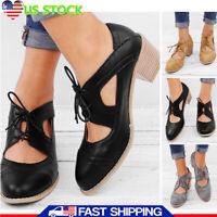 Women Block Low Heels Flatform Brogues Cut Out Lace Up Brogues Oxford Dress Shoe