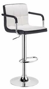 CADBURY ARMREST HEIGHT ADJUSTABLE BAR STOOL CHAIR - BLACK & WHITE