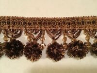 NEW BALL FRINGE WITH BEADS 2 YDS BROWN / CINNAMON FOR DECORATIVE ACCENTS