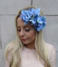 Dusty Cornflower Blue Hydrangea Flower Headband Garland Hair Crown Floral 5375