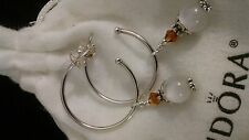 AUTHENTIC PANDORA  EARRING HOOPS #290654 + CRYSTAL WHITE AUSTRIAN DANGLES. HOT!