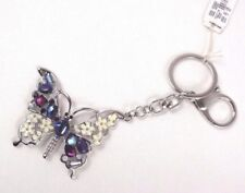 Butterfly keychain Handbag Charm Silver Sapphire Daisies Christopher Banks - New