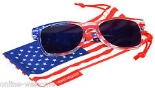 US American Flag Blue Mirrored Retro Sunglasses glasses US patriotic 4th of July