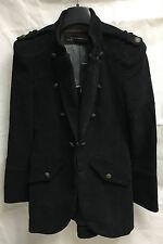 Zara Woman Cotton Long Black Coat. Size Small. RRP €119.