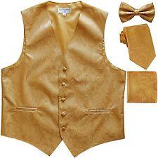 New Men's Paisley Tuxedo Vest Waistcoat & necktie & Bow tie & Hankie Gold formal