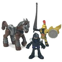 Imaginext Ninja &Gold Knight Action Figures Brown Horse Silver Shield Joust Pole