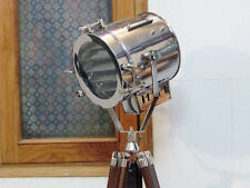 DESIGNER NAUTICAL TRIPOD FLOOR LAMP - SEARCHLIGHT WITH WOOD TRIPOD STAND GIFT