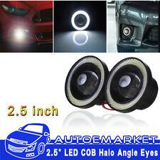 "2.5"" 20W COB Headlight Car LED Halo Projector Angle Eyes White Ring Fog Light"
