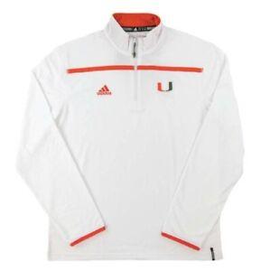 University of Miami Hurricanes Adidas White Climalite Performance 1/4 Zip LS NEW