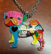"Inlaid Multi-colored PUG DOG Pendant Necklace with 20"" Chain E3-3"