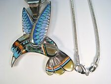 INLAY HUMMINGBIRD NECKLACE Turquoise Opal Lapis Jasper Onyx 925 STERLING SILVER