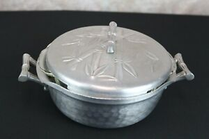 Vintage Everlast Forged Aluminum Bamboo serving Dish with Fire King casserole