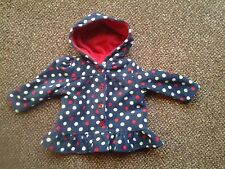 BNWOT - GIRLS NAVY MULTI SPOTTED FRILLED HOODED COAT+ RED TOP - AGE 1 YEAR