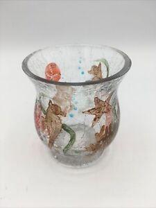Yankee Candle Crackle Glass Votive Hurricane Jar Sea Horse Ocean Coral Sand Doll