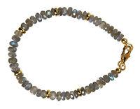 Labradorit Armband 925 Silber vergoldet Armkette D909