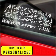 4 PERSONALISED With Registration Number Plate-Car,Van,Alarm Sticker-GPS Tracker