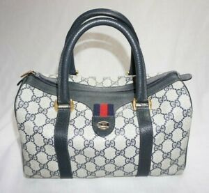 Vintage 1980's GUCCI Accessory Collection Navy Blue/Gray Monogram Satchel Bag