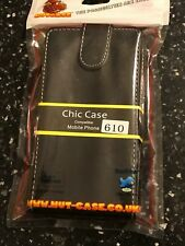 BLACK NOKIA 610 MOBILE PHONE FLIP POUCH CHIC CASE PU LEATHER WALLET MAG CLIP
