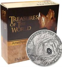 PALAU 2013 25g Silver $5 TREASURES OF THE WORLD AMETHYST Coin.