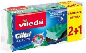 Vileda Sponge Glitzi PurActive for Sensitive Surfaces Parent Pack of 3