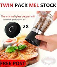 Pepper/Salt Grinder Pair Set Brushed Stainless Steel Salt Shaker Pepper Mill New