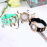 Bling Crystal Golden Women Girl Ladies Quartz Silicone Wrist Watch Strap JT