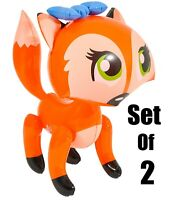 "(Set Of 2) 24"" Orange Lady Fox's With Bow Inflatable -  Inflate Party Decoration"