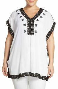 Michael Kors Crochet Gauze V-Neck Tunic Embroidered Oversized Top Plus Size 2X