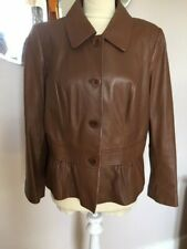 M&S  'Autograph Weekend'  size 14  Tan/Brown  Real leather waist detail  Jacket