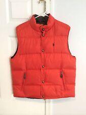 NWT Men's Ralph Lauren Polo Reversible Down Puffer Vest Orange/Green Size Medium