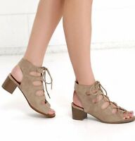 Lace Up Gladiator Low Mid Block Heel Open Toe Dress Sandals Womens Shoes