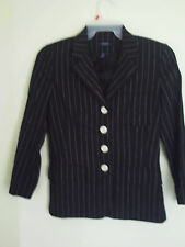 Womens black White Striped CHAPS cotton Linen Blnd career jacket blazer SMALL 4