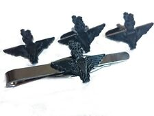 Parachute Regiment Cufflinks Lapel Badge Tieclip Military Gift Set subdued black