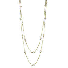 14K Yellow Gold Diamond Station Necklace By The Yard 24 Inches 1.30 Carat