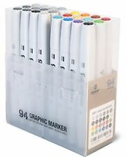 MTN 94 - GRAPHIC INK DRAWING MARKER PEN SET - 24 MAIN SET A BASIC / GREY COLOURS