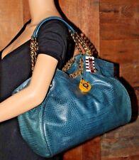$498~HENRI BENDEL Satchel BLUE Croco Leather NWT Purse Tote Chainlink Charm Bag