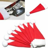 10PCS Party Decor Cutlery Bag Tableware Holder Santa Claus Red Christmas Hat