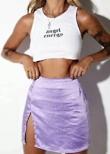 Motel Rocks Shenka Mini Skirt Satin Lilac Front Slit A-Line Size XS UK Size 8 #1