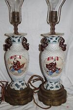 PAIR OF ANTIQUE JAPANESE SATSUMA TABLE LAMPS ENAMEL POTTERY BRASS BASE