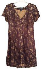 VIVIENNE TAM Brocade Cocktail Party Dress Brown Gold V-Neck Side Zip Sz 3 (US 8)