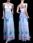 Cocktail Evening Bridesmaid Maxi Dress White Blue Plus Size 22 20 18 16 14 12 10