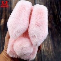 For Samsung S8 S10 Plus Lite Soft Fluffy Furry Rabbit Bunny Ear Plush Case Cover